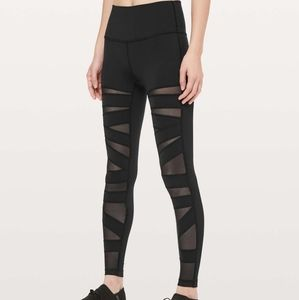 Lululemon Wunder Under black tech mesh leggings